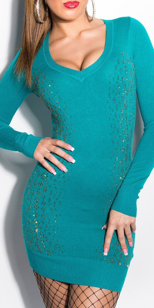 Koucla Minikleid Pulli Strickkleid Longpullover  Pullover Sweater Strass