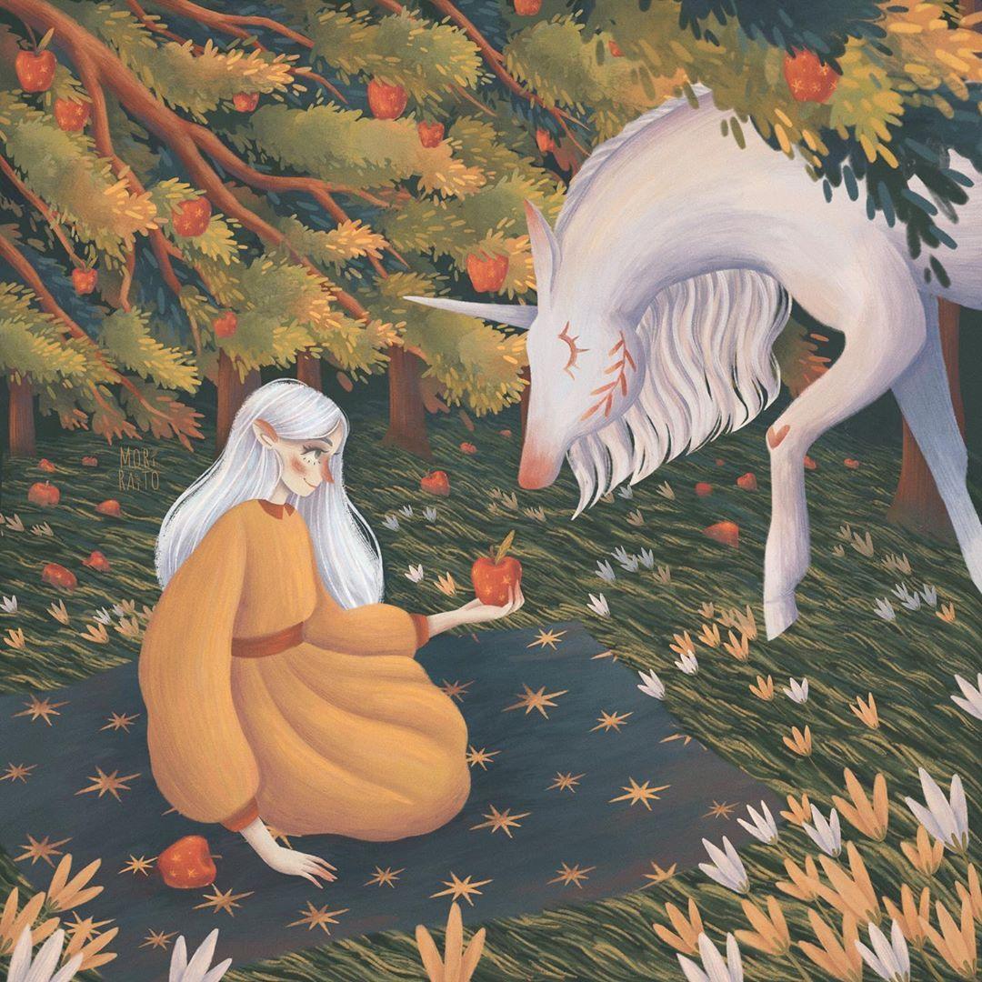 "Mori Raito on Instagram: ""The secret of the apple orchard . . . #art #instaartwork #artist #draw #digitalart #paint #illustrationartists #dailysketch #art_spotlight…"""
