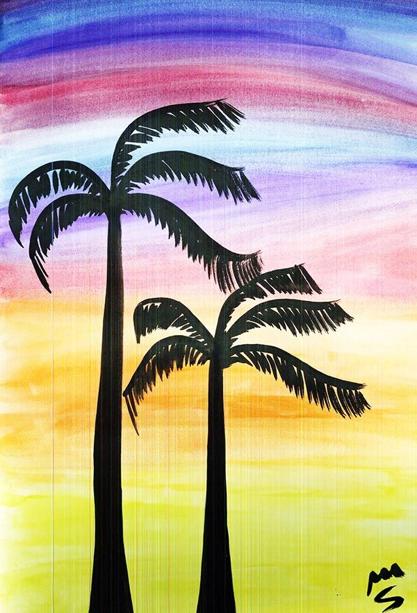 watercolor palm sunset