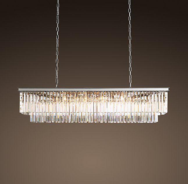 "1920s odeon clear glass fringe rectangular chandelier 59"" | dining"