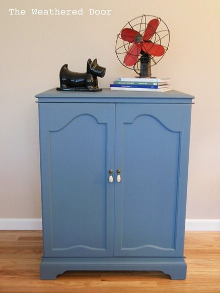 Exceptional Painted Blue Cabinet | Roadkill Rescue