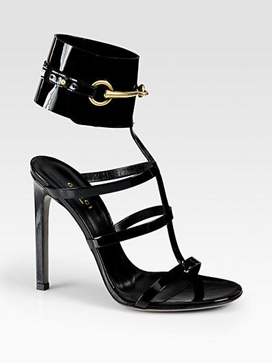 5a8242095b83be Gucci Ursula Patent Leather Horsebit Sandals