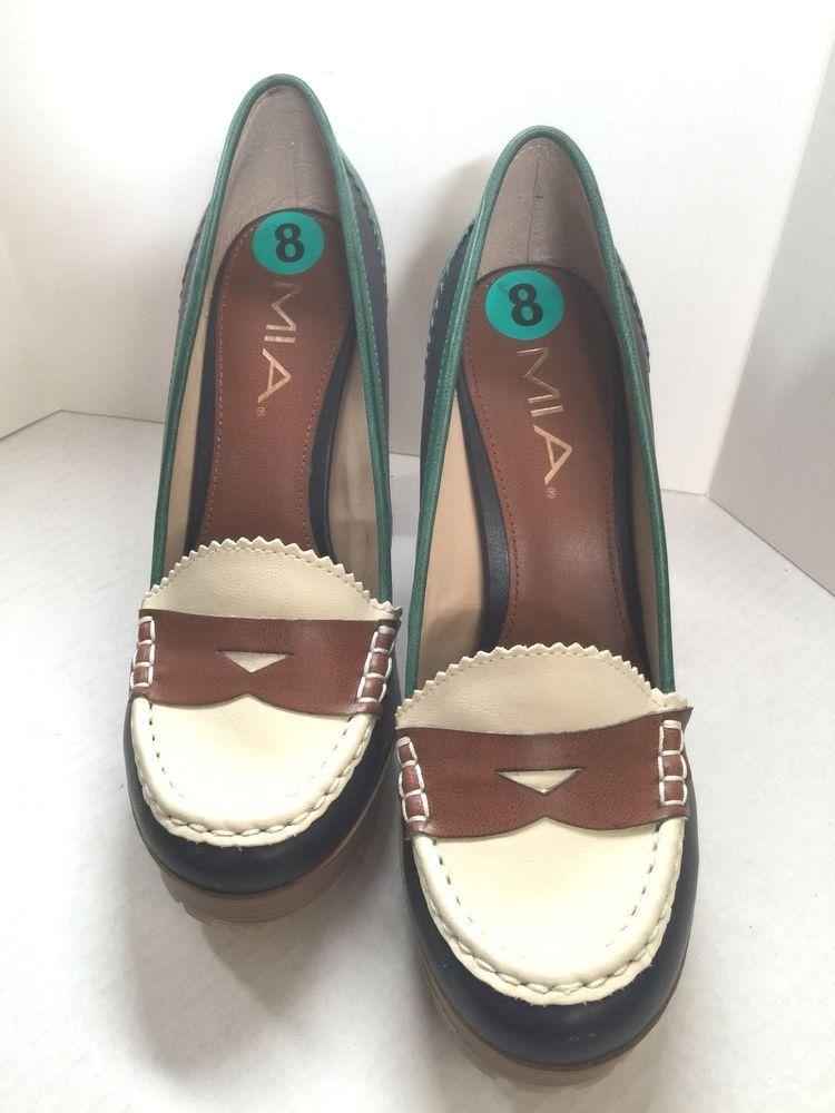 3129a649e0f MIA Women s Size 8M Newberry Platform High Heels Penny Loafer Style Multi  Color  MIA  PlatformHighHeel