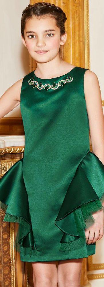4e090afcf DAVID CHARLES GIRLS EMERALD GREEN SATIN DRESS. Perfect party dress!