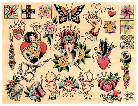 Vintage Quilting & Sewing, Crafty Crafter, Tattoo Flash Print by ... : temporary quilt tattoos - Adamdwight.com
