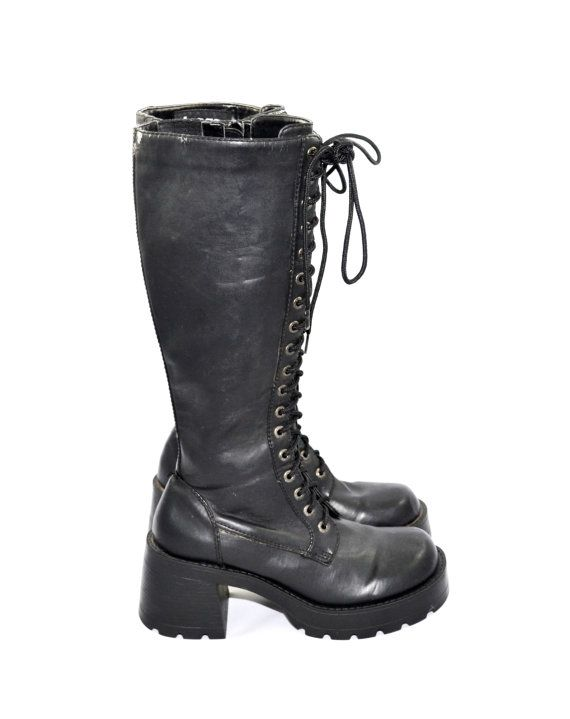 Sold To Kimmy Vintage Black Bongo Goth Boots Black Chunky Heel Etsy Grunge Boots Black Boots Tall Black Boots
