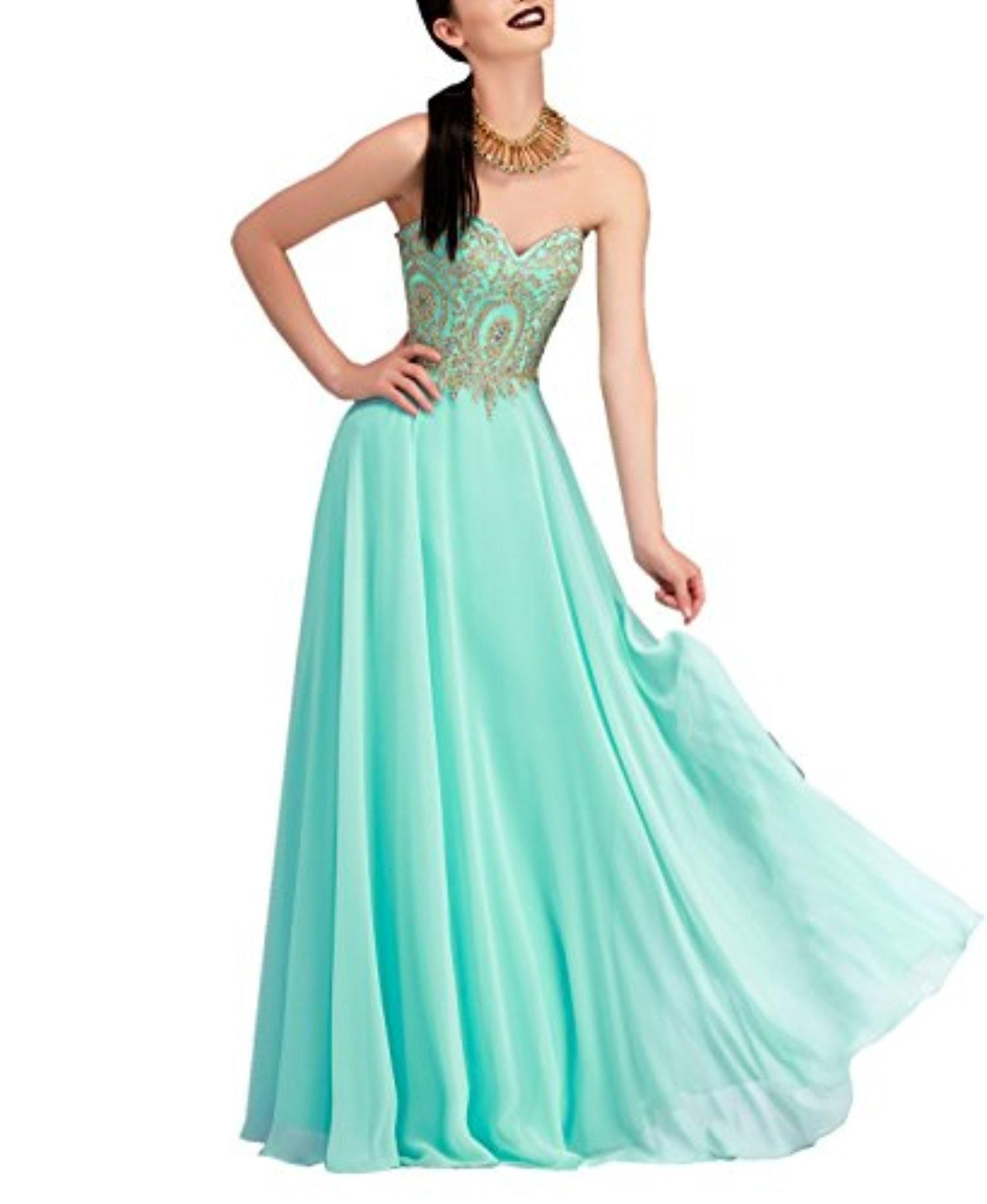 FOLWEP Gorgeous A-line Beaded Floor Length Chiffon Prom Dresses ...