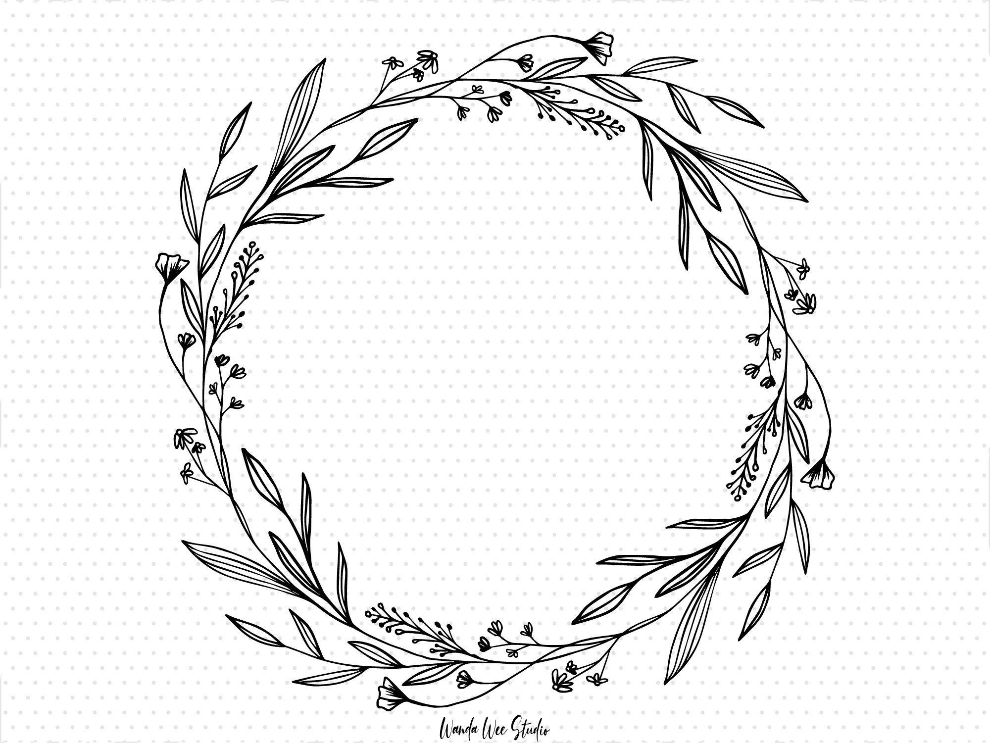 Hand Drawing Foliage Leaf Wreath Monochrome Wreath Clip Art Png File For Sublimation Home Project And Hand Lettering Decoration Wreath Clip Art Floral Wreaths Illustration Floral Border Design
