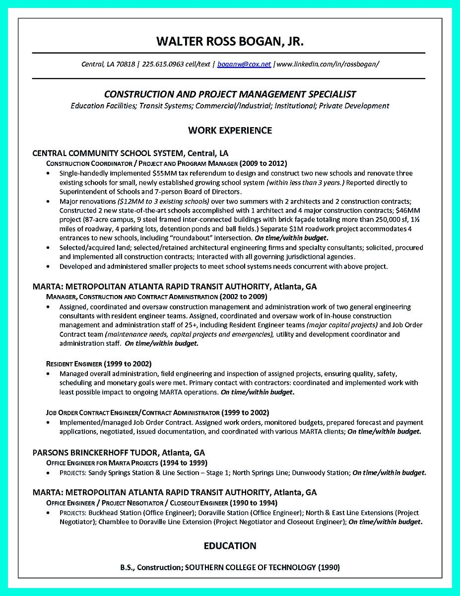 Simple Construction Superintendent Resume Example To Get Applied Project Manager Resume Resume Examples Manager Resume