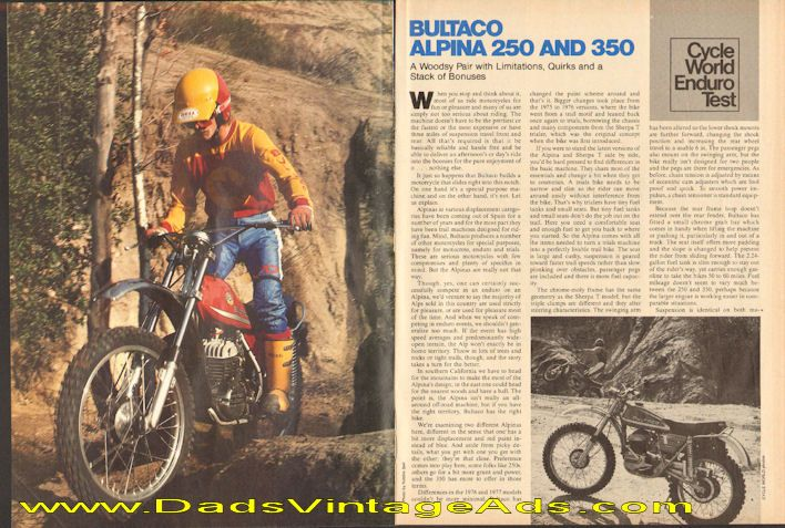 1977 Bultaco Alpina 250 and 350 Road Test / Specs | Misc. Vintage ...