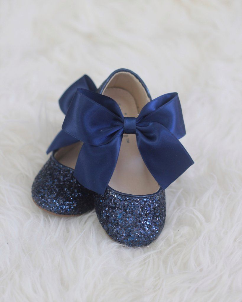 NAVY Blue Girl Shoes Rock Glitter Maryjane Flats With