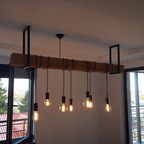 Id e de suspension avec poutre et luminaires style industriel luminaire p - Idee luminaire salon ...