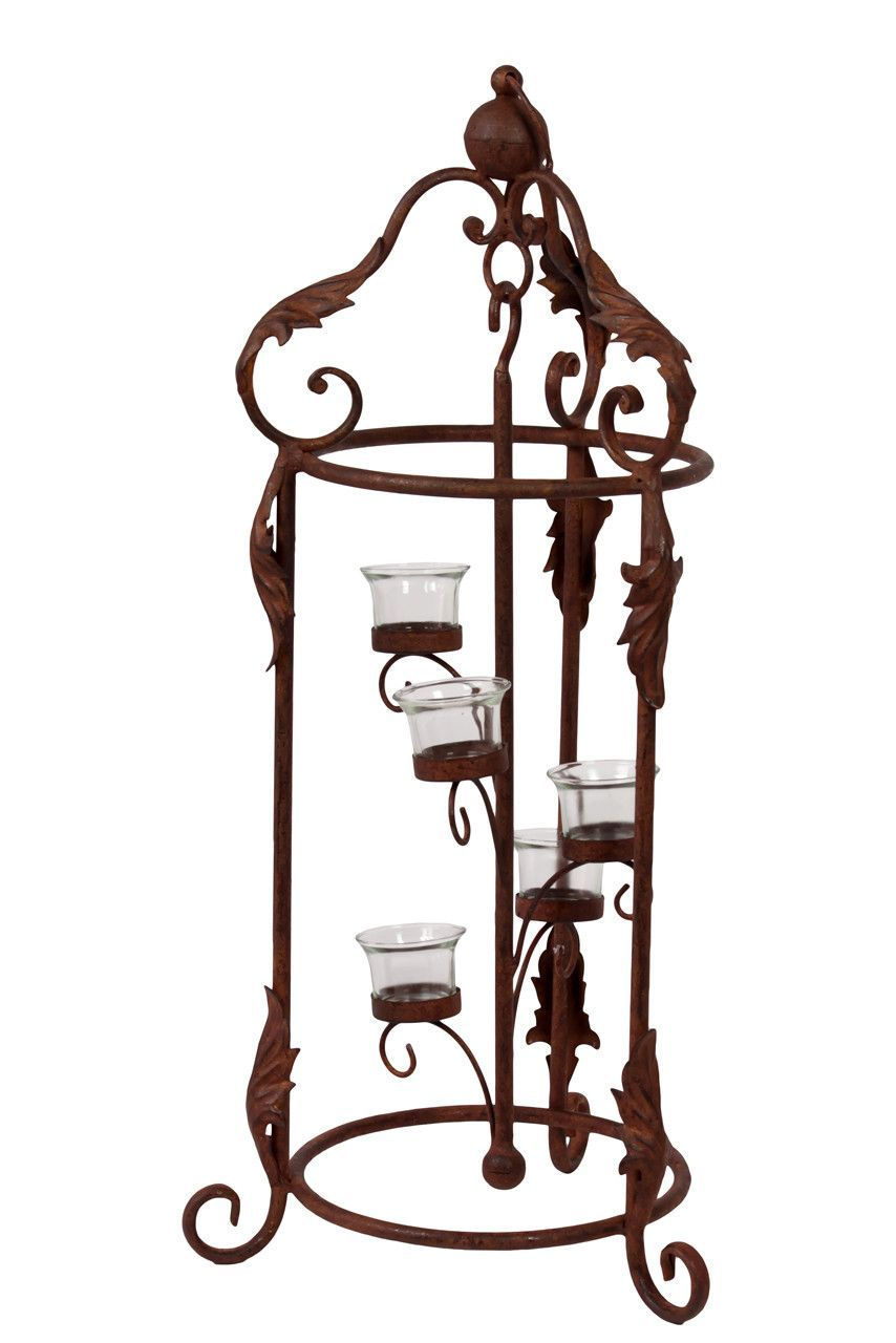 Five metal candle holder w magnificent designed stand in rustic