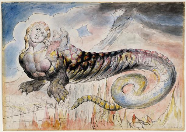 William Blake Illustrations To Dante S Divine Comedy 1824 27 Geryon Conveying Dante And Virgil Down Towards M William Blake William Blake Art Illustration
