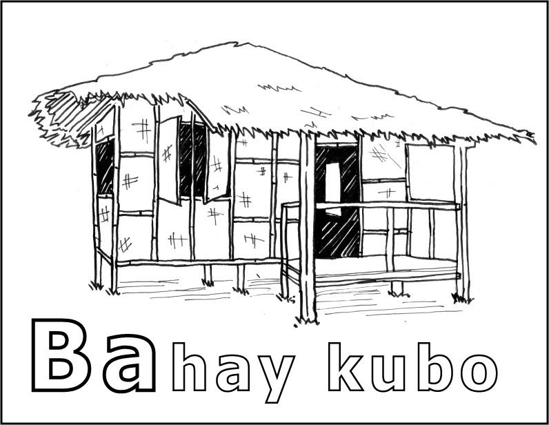 Philippine National House Coloring Page Bahay Kubo House