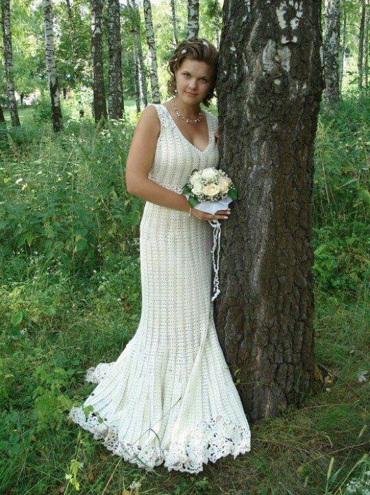 Vestido novia | Trajes de novias al crochet | Pinterest | Crochet ...