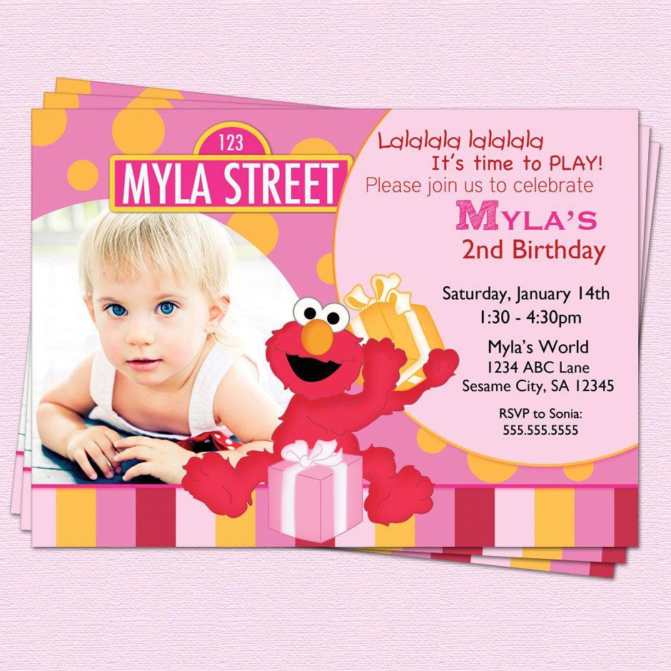 Elmo Birthday Invitation, Sesame Street Girl Elmo