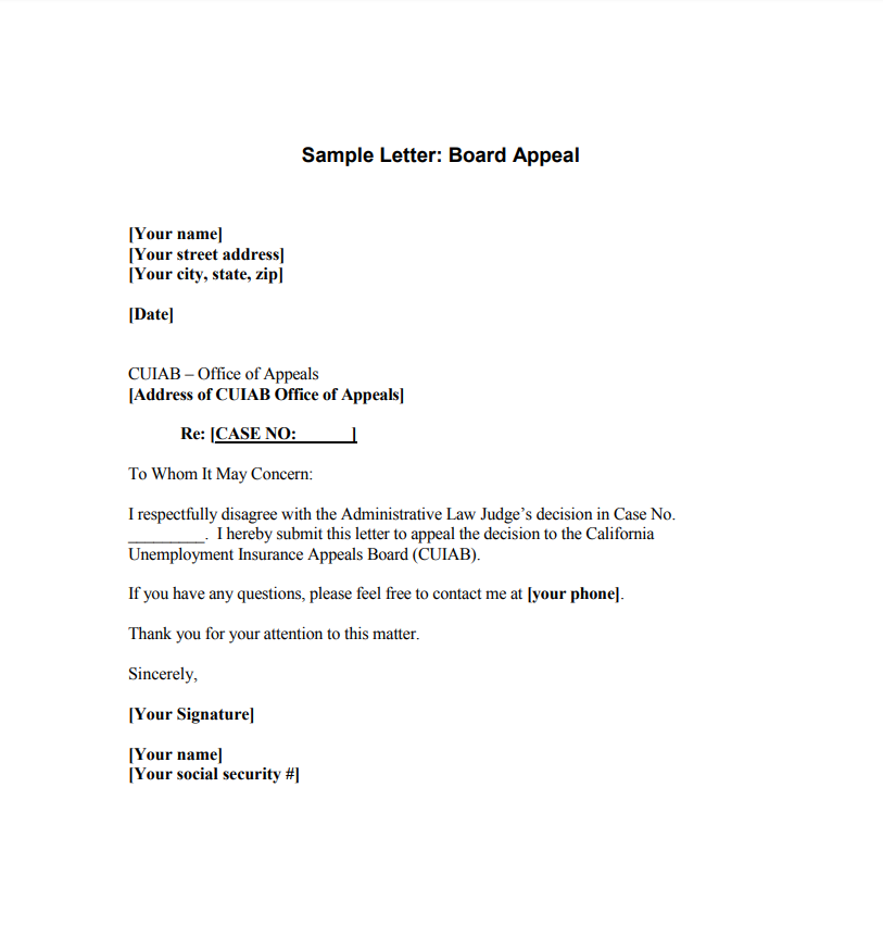 Sample Letter To Edd Providing Notice Of Appeal Of Unemployment