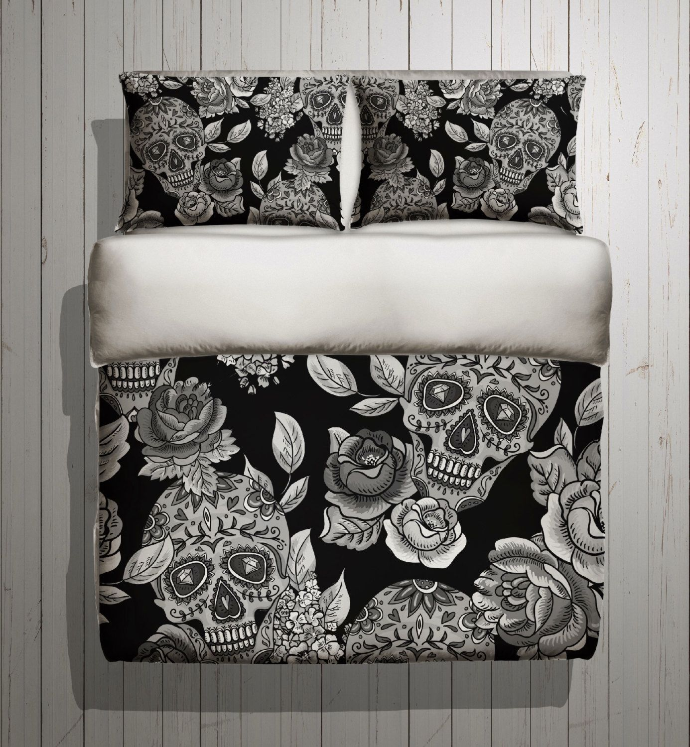 Sugar Skull Bedding ANY COLOR Mega Print with Detailed Skull and Rose