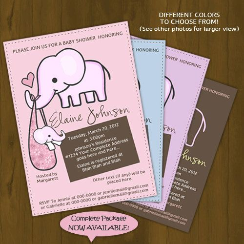 Elephant Baby Shower Invitation Elephant Mommy And Baby