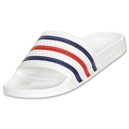 8ec81699 ADIDAS Adilette Men's Slide Sandals Shoe, White/Blue/Red - 10.0 ...