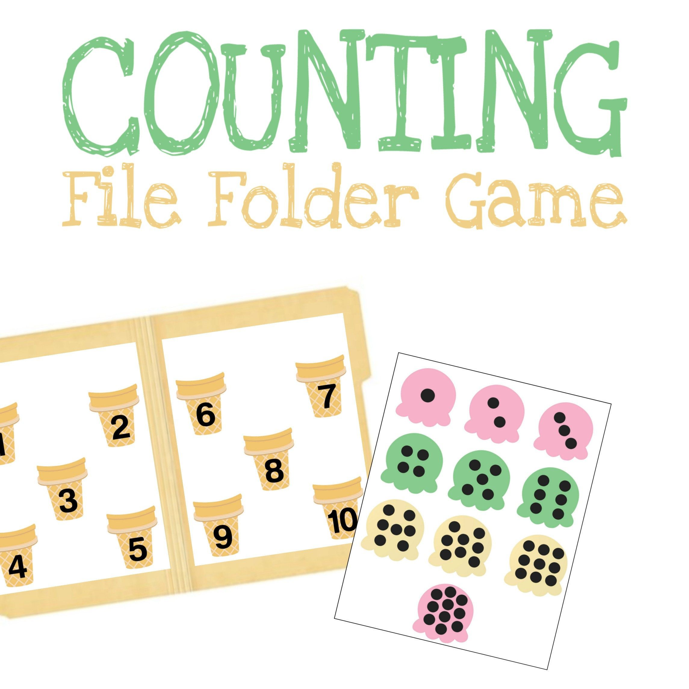 Matching Numbers File Folder Game Preschool Learning