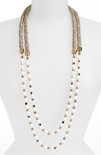 Tory Burch 'White Stone' Double Strand Rope Necklace | Nordstrom