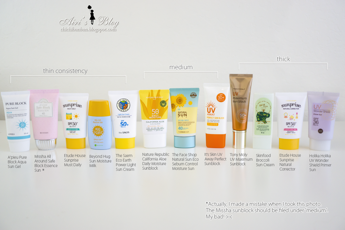 Airi's Blog ☆ 。・* Korean sunscreen comparison—Which one
