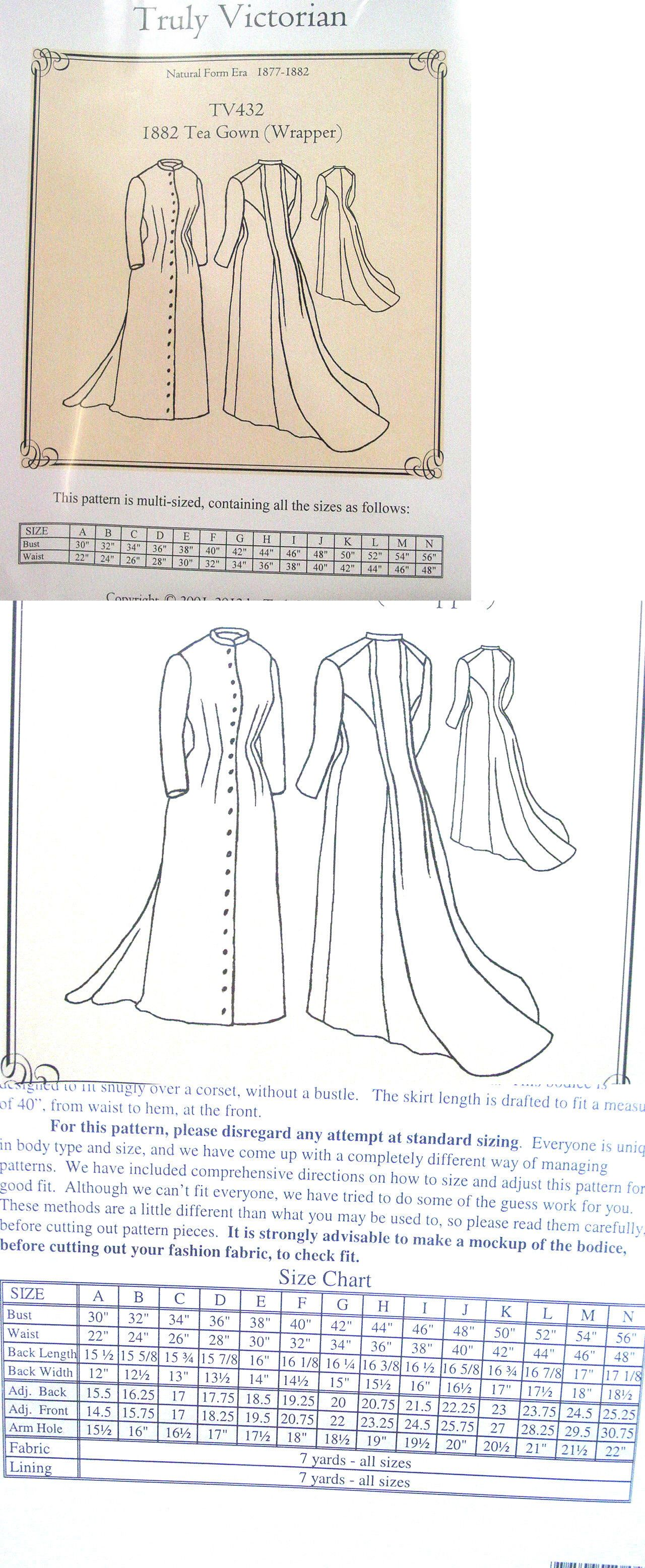 Patterns 163131: Truly Victorian Sewing Pattern Tv432 1882 Tea Gown ...