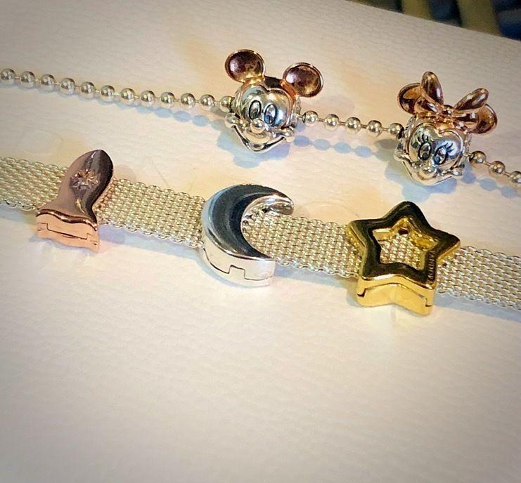 d032b7161 PANDORA Shine Reflexions bracelet with Sleek Star Clip Charm, Moon Clip  Charm, Space Rocket Charm.