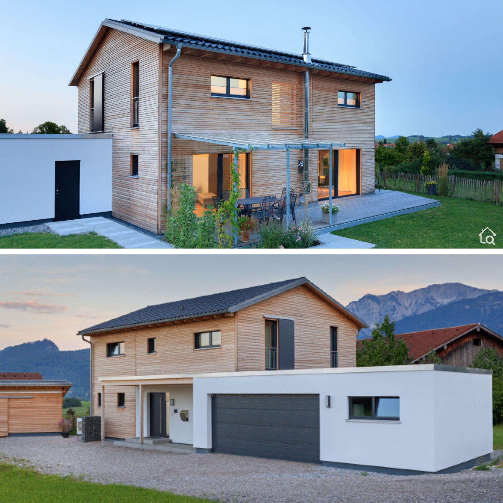 Modernes Haus Design mit Satteldach Garage & Holz Fassade bauen Einfamilienhaus Grundriss Ideen
