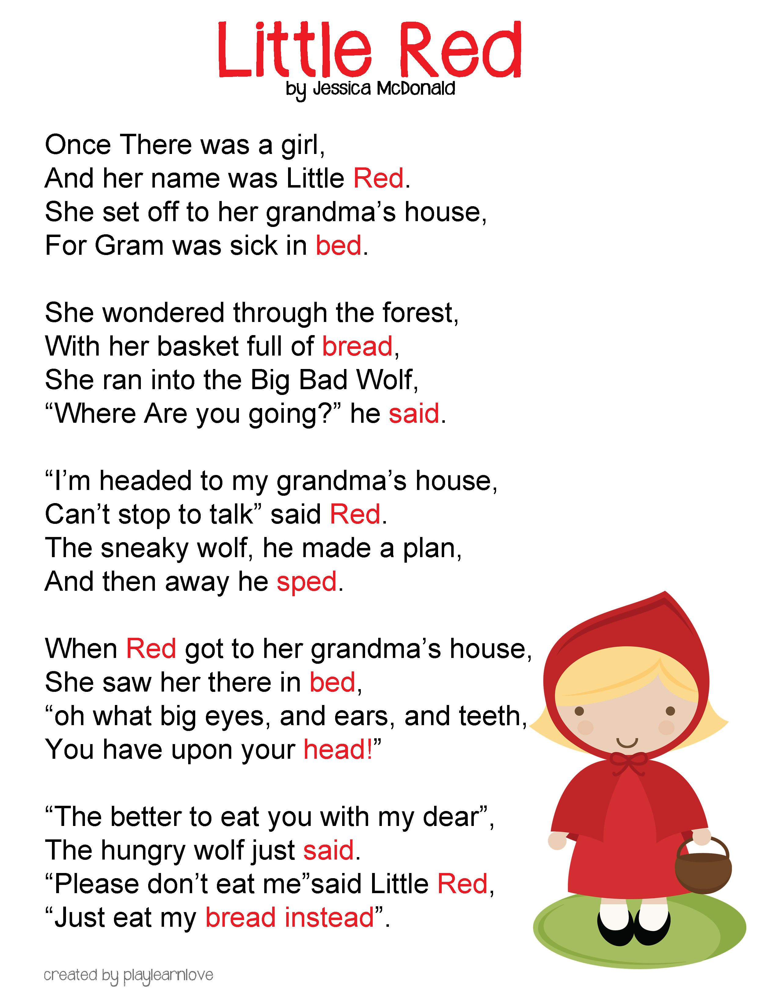 little red riding hood poem and lesson plan songs fingerplays