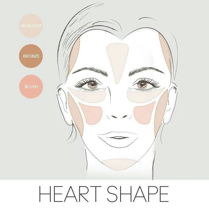 How To Bronze Blush Highlight A Heart Shaped Face Diamond Face Shape Square Face Makeup Heart Face Shape