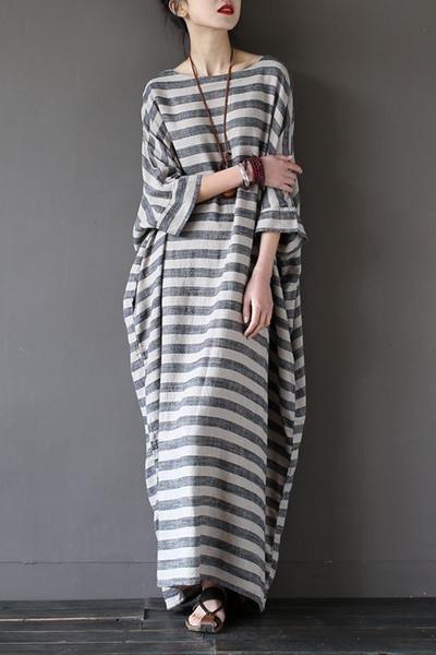 0f4fe0cd848 Stripe Loose Big Size Maxi Size Dresses Summer Plus Sizes Women Clothes  Q3015 Mais