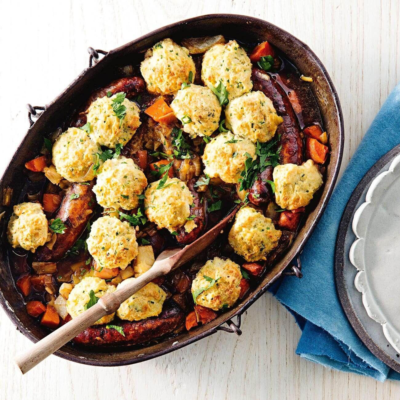 Sausage casserole with cheese dumplings recipe sausage