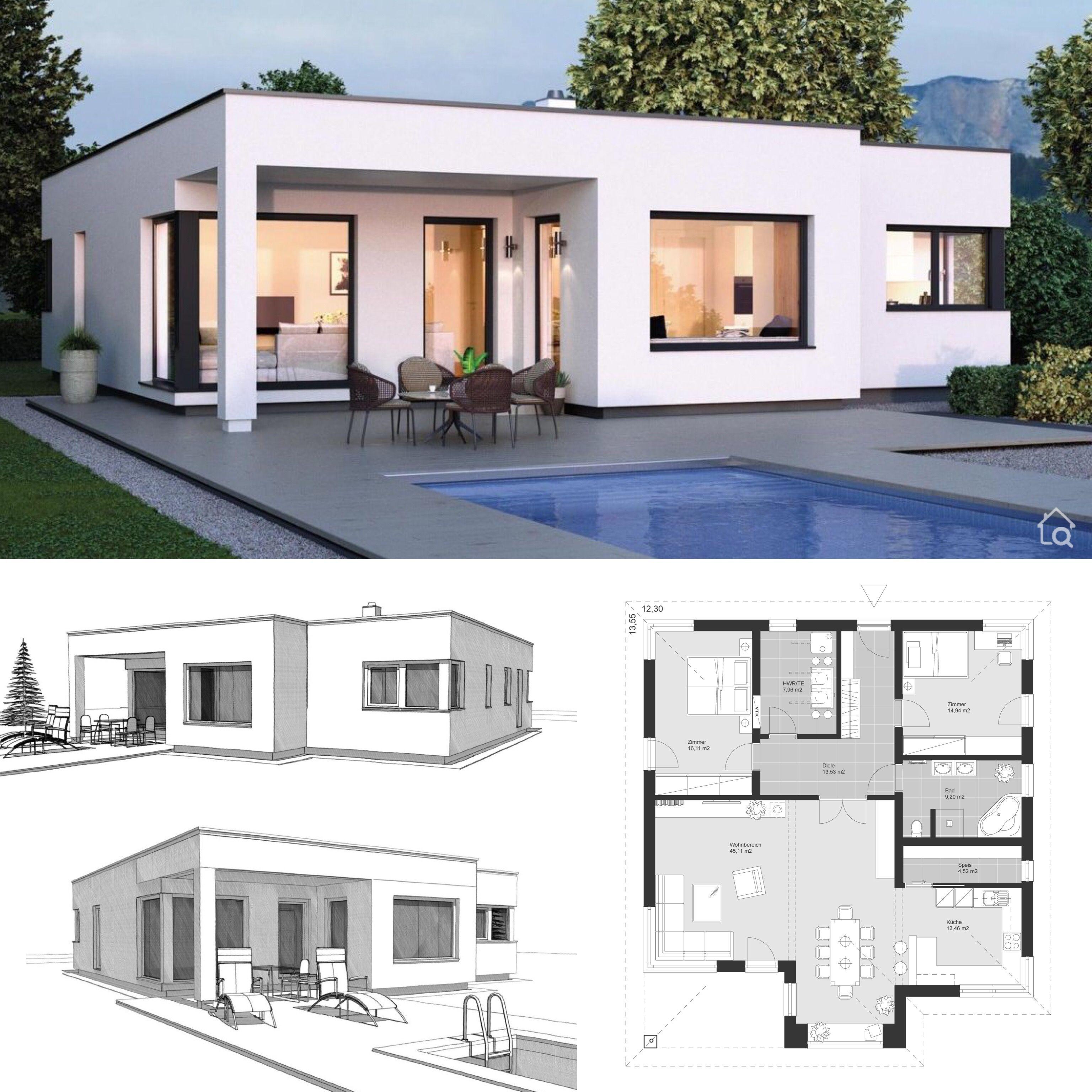 Fertighaus Bungalow modern mit Flachdach Architektur im