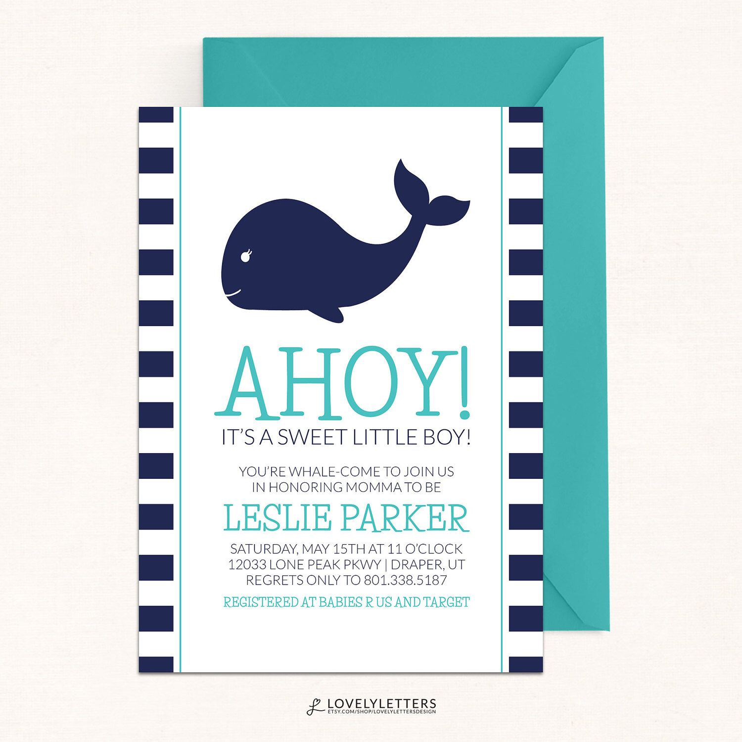 Whale Baby Shower Invitation / Whale Invitation / Ahoy It\'s a Boy ...