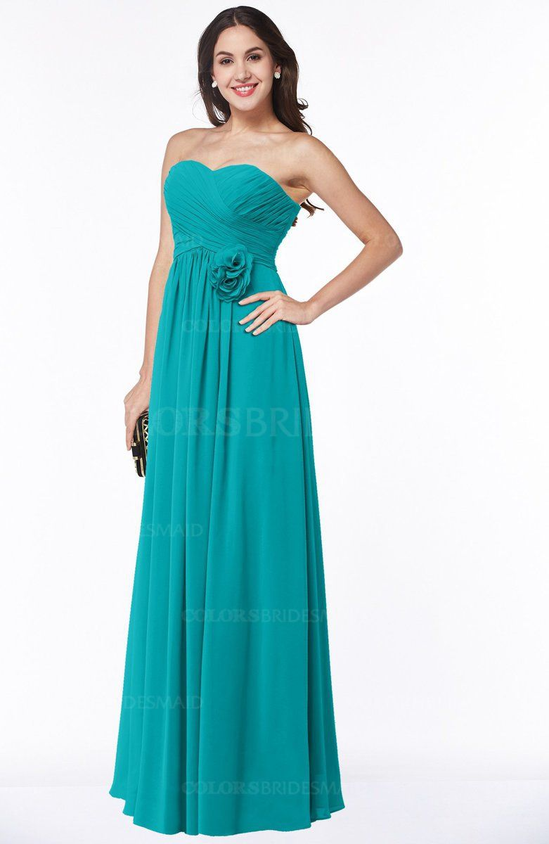 Teal Elegant Empire Strapless Sleeveless Half Backless Plus Size ...