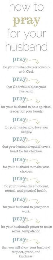 Prayer for husband. So sweet.