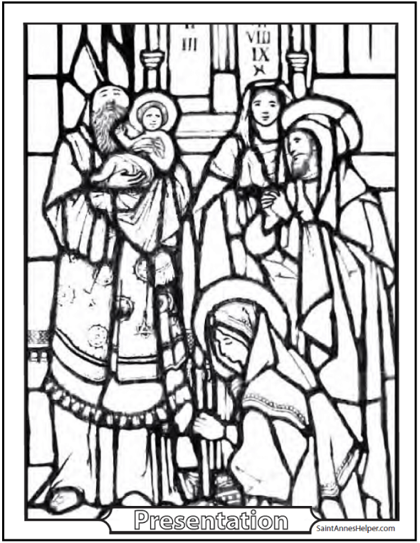 Stained Glass Presentation Of Jesus Picture For Kids To Color Scores Catholic Rosary Coloring Pages Happy Feast The Purification Or Candlemas Day