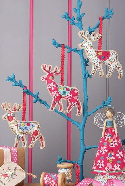 Todays posts are all about Christmas decorations and we begin with decorations by Gisela Graham spotted at The Contemporary Home. The tree and reindeer decorations are made with fabric and buttons they have look modern yet have a homespun charm, whilst the wooden deer and robin will fit with any Nordic theme.
