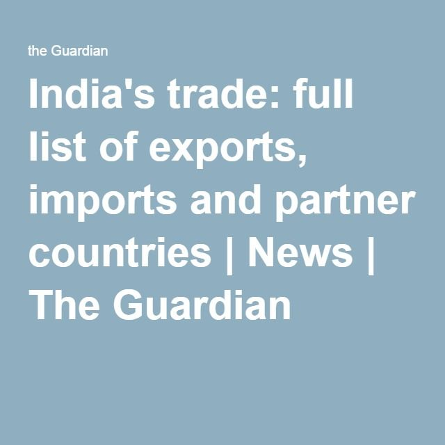 India's trade: full list of exports, imports and partner