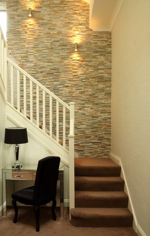 Stairway Wall Decorating Ideas Staircase Transitional With Desk