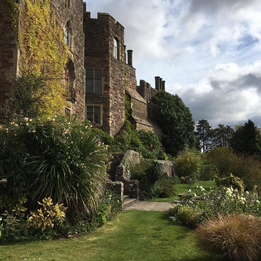 In the gardens of Berkeley Castle. castle wall shrubs