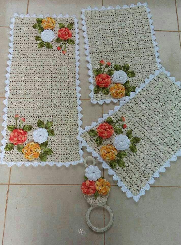 Apliques De Ganchillo De Dori Vico Jogo De Cozinha Croche