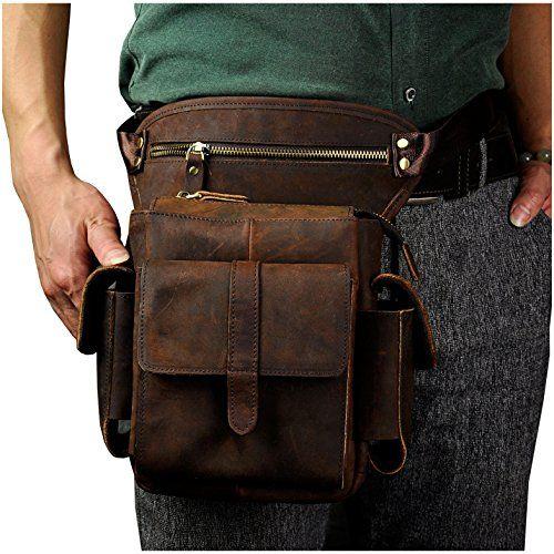 Brown Leaokuu Mens Genuine Leather Vintage Messenger Shoulder Fanny Waist Pack Satchel Bag