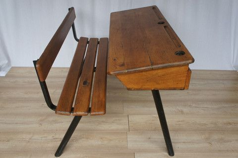 Industrial Style Double School Desk – Vintage French