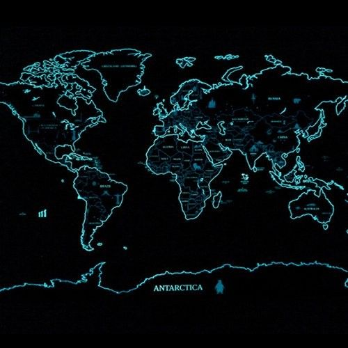 Glow in the Dark World Map Scratch Off Map  Mapping the World  2