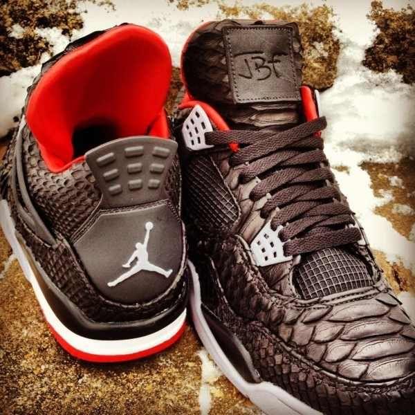 Cheap Online Sale Nike Jordan 4 Cheap sale Black Python Customs
