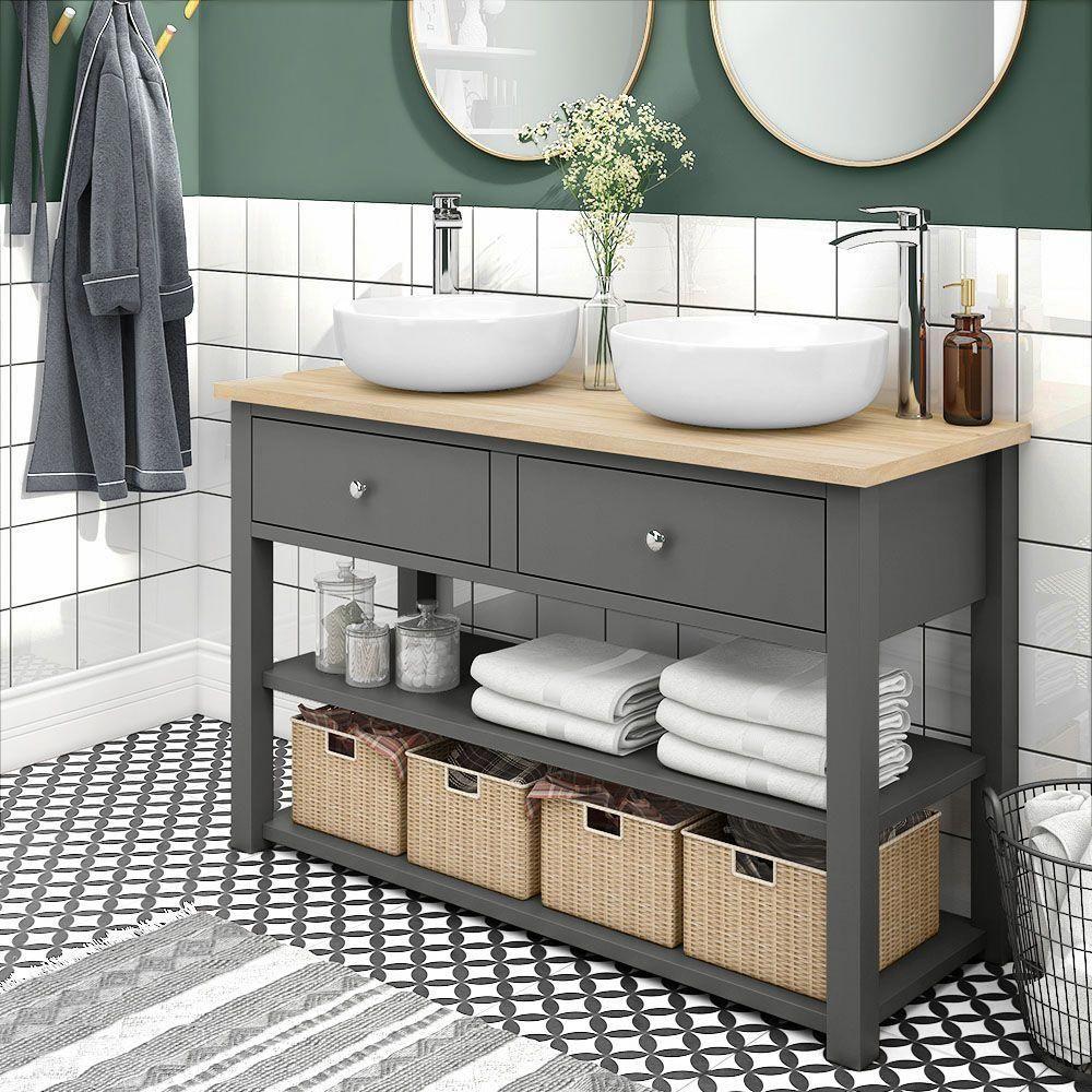 Trafalgar 1240mm Grey Countertop Vanity Unit And Double Round Basins Victorian Plumbing Uk 1240mm Basins C In 2020 Grey Countertops Bathroom Furniture Vanity Units